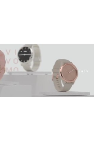 Garmin vivomove® Style White Silicone Smart Watch With Rose Gold Hardware