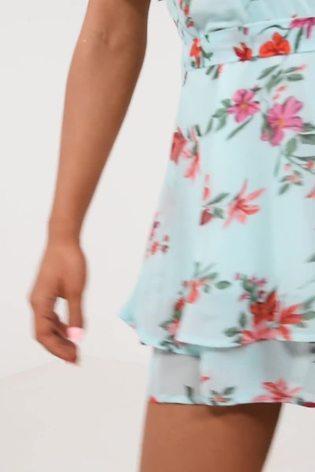 Quiz Mint Floral Frill Playsuit