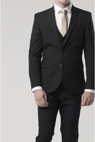 Black Slim Fit Two Button Suit: Jacket