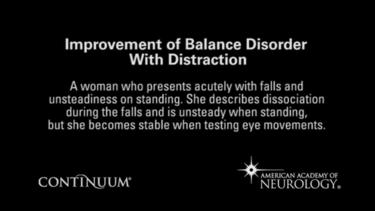 Improvement of balance disorder with distraction.