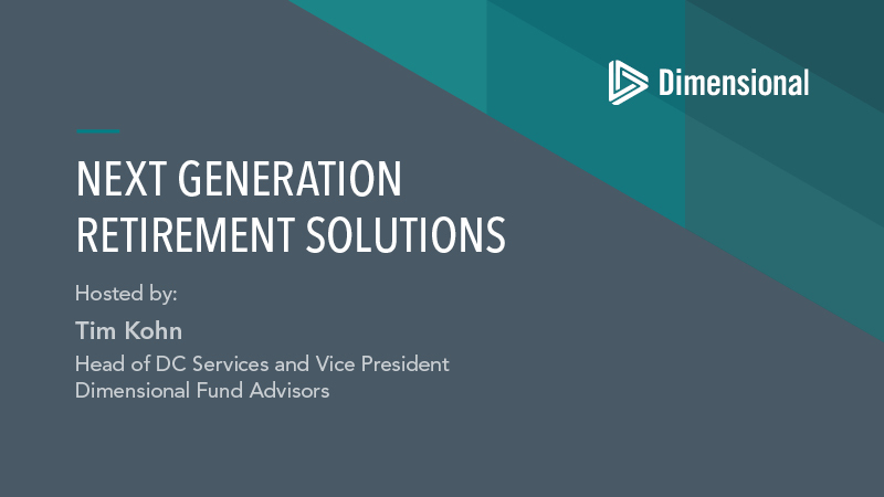 Panel Discussion on Retirement Income - Next Generation Retirement Solutions