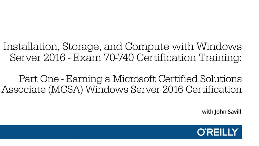 Installation Storage And Compute With Windows Server 2016 Exam