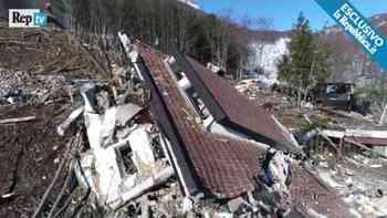 Beklemmend: Drohnenvideo zeigt Überreste des verschütteten Hotels in Italien