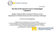 Torn From the Headlines: The Role of the Supreme Court in Voting Rights Legislation