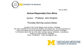 Human Dispersal(s) from Africa