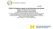 COVID-19 Pandemic Impacts on the Environment and Climate