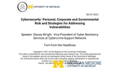 Torn from the Headlines: Cybersecurity: Personal, Corporate and Governmental Risk and Strategies for Addressing Vulnerabilities