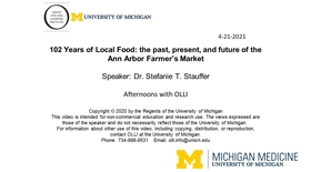 102 Years of Local Food: the Past, Present, and Future of the Ann Arbor Farmer's Market