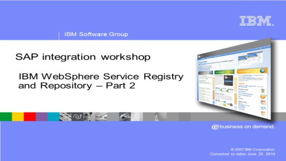 WebSphere Service Registry And Repository SAP Enterprise