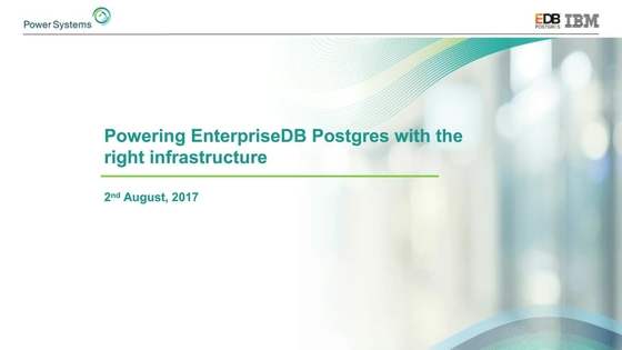 Powering Enterprise DB Postgres with the right