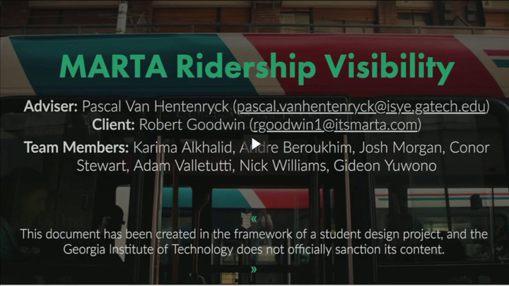 Start Video Playback Finalist - MARTA Ridership Visibility