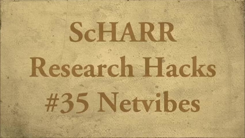 Thumbnail for entry ScHARR Research Hacks #35 Netvibes
