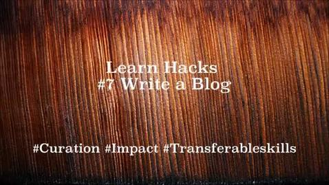Thumbnail for entry ScHARR Learn Hacks #7 Write a blog