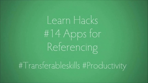 Thumbnail for entry ScHARR Learn Hacks #14 Apps for referencing