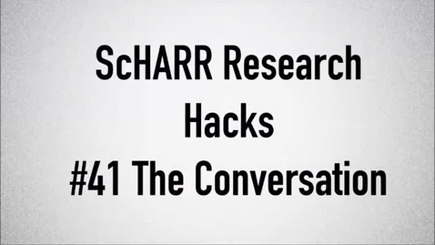 Thumbnail for entry ScHARR Research Hacks #41 The Conversation