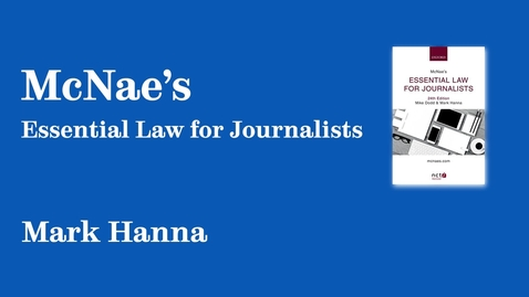 Thumbnail for entry Sheffield Authors Showcase - Mark Hanna - McNae's Essential Law for Journalists