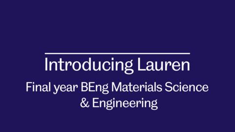Thumbnail for entry Student ambassador video - Introducing Lauren