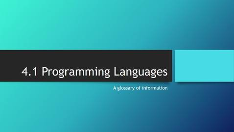 Thumbnail for entry ProgrammingLanguages 25_11_2020 15_54_46