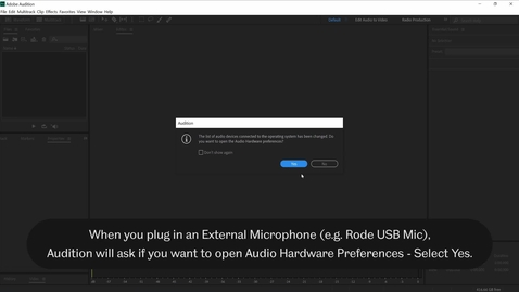 Thumbnail for entry Setting an External Microphone in Adobe Audition