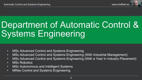 Thumbnail for entry Department of Automatic Control and Systems Engineering MSc 2020 entry