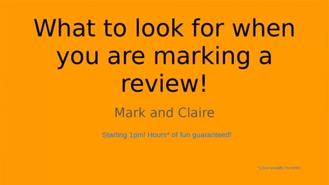 Thumbnail for entry C-PDO #8 - What to look for when you're marking a review