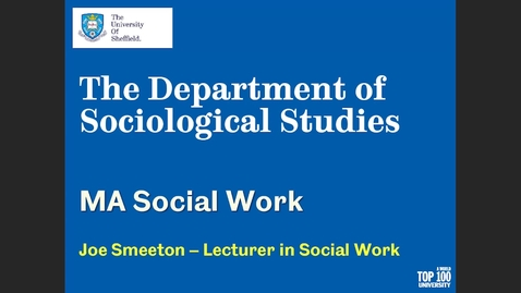 Thumbnail for entry MA Social Work information session