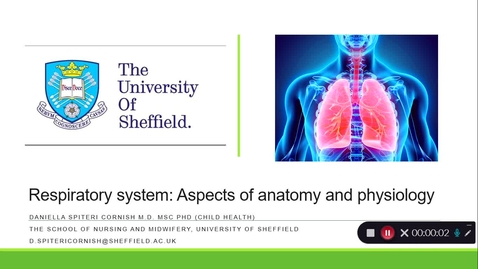 Thumbnail for entry The Respiratory System: Aspects of anatomy and physiology