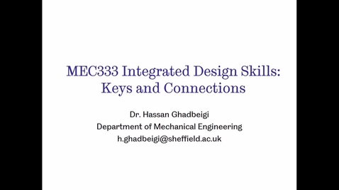 Thumbnail for entry MEC 333- Keys and Connections