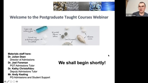 Thumbnail for entry Materials Science & Engineering MSc taster lectures