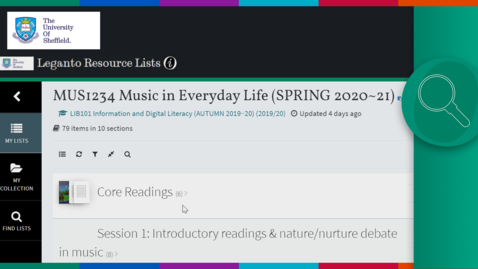 Thumbnail for entry Using Resource Lists: a tutorial for students