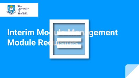 Thumbnail for entry IMM Module Requisites