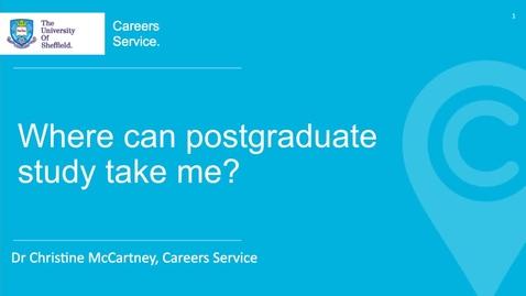 Thumbnail for entry Where Can Postgraduate Study Take Me?