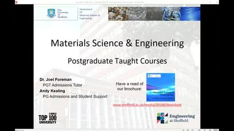 Thumbnail for entry Postgraduate degrees in the Department of Materials Science and Engineering