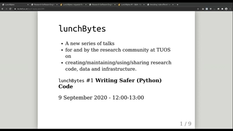 Thumbnail for entry LunchBytes talks #1: writing safer (Python) code