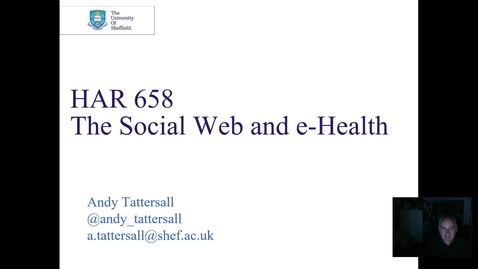 Thumbnail for entry HAR658 The Social Web and E Health 2018