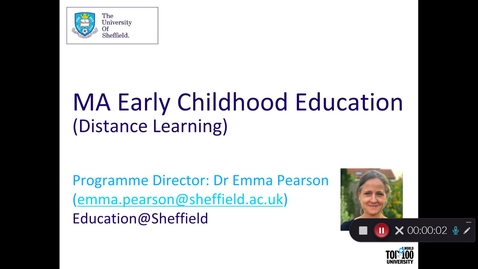 Thumbnail for entry MA Early Childhood Education (Distance Learning) -  Postgraduate Open Day