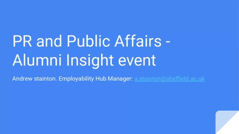 Thumbnail for entry Careers In... PR and Public Affairs