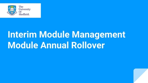 Thumbnail for entry IMM Module Annual Rollover