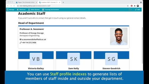 Thumbnail for entry New CMS Training  | Staff profile index Content type
