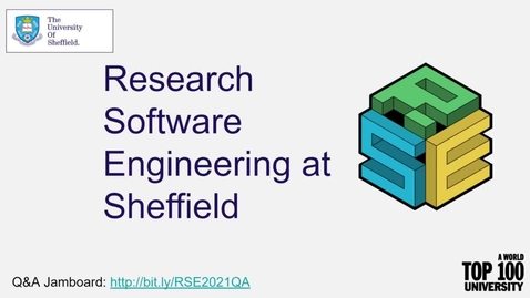 Thumbnail for entry Research Software Engineering at Sheffield