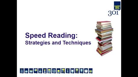Thumbnail for entry Speed Reading: Strategies and Techniques