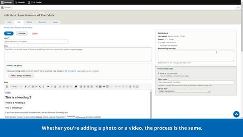 Thumbnail for entry Introduction to the CMS | The Editor | Embedding media