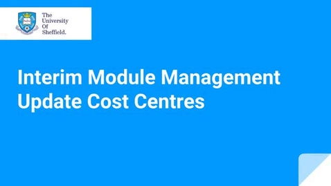 Thumbnail for entry Updating module cost centres