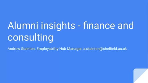 Thumbnail for entry Careers In... Finance and Consulting