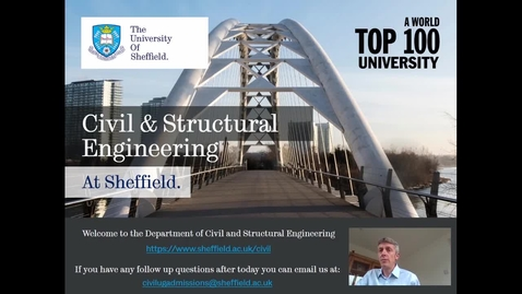Thumbnail for entry Civil & Structural Engineering - Welcome to the University and the Department