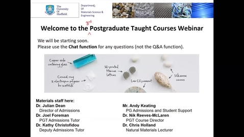 Thumbnail for entry Materials Science & Engineering MSc taster lecture