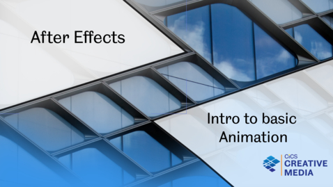 Thumbnail for entry Adobe After Effects: Basic introduction to Animation