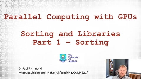Thumbnail for entry Lecture 16 - Part 01 - Sorting