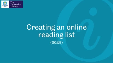 Thumbnail for entry 1. Creating an online reading list