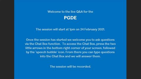 Thumbnail for entry PGDE Teacher Training - Live Q&A from the Postgraduate Online Open Day, Feb 2021